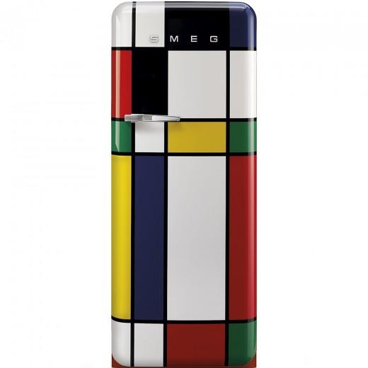 Frigider cu o usa deschidere dreapta FAB28RDMC, Multicolor abstract, 60 cm, Retro 50, SMEG