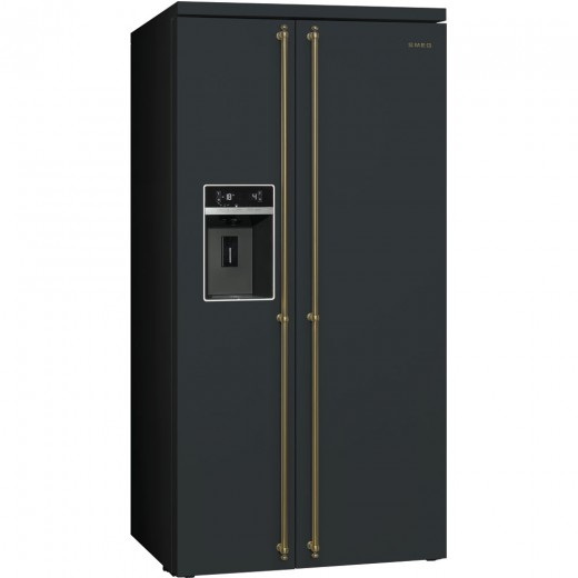 Frigider Side by side SBS8004AO, Antracit, 91 cm, Coloniale, SMEG