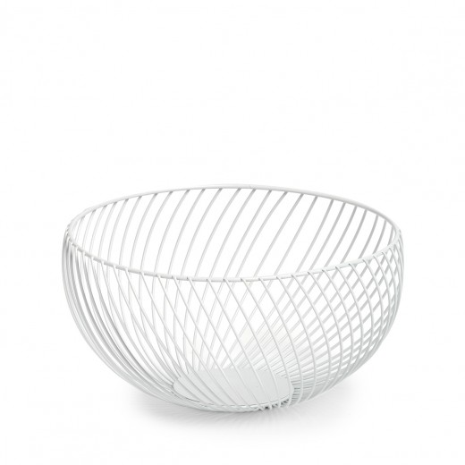 Fructiera Bowl Metal Alb, Ø26,5xH13,5 cm
