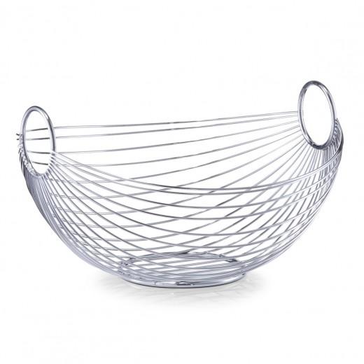 Fructiera Bowl, Metal Cromat, l28xA25,5xH16 cm
