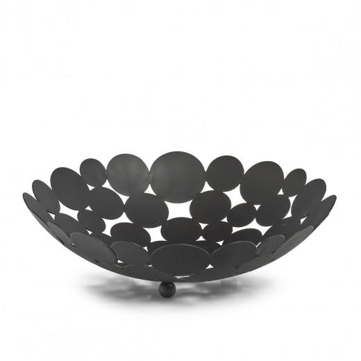 Fructiera Circules Metal Negru, Ø29xH8,5 cm