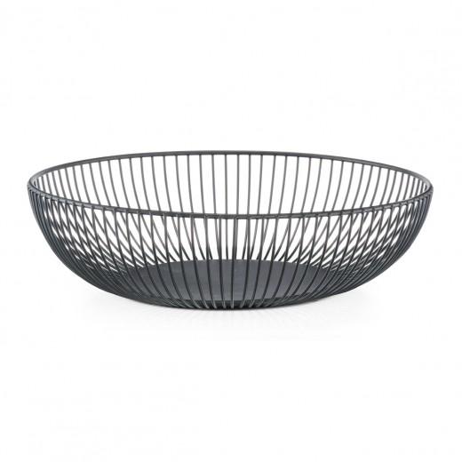 Fructiera Round II, Metal Black, Ø 28xH8 cm