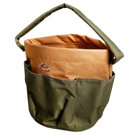 Geanta pentru unelte de gradinarit, din material textil, Round Bag Verde, Ø28xH26 cm
