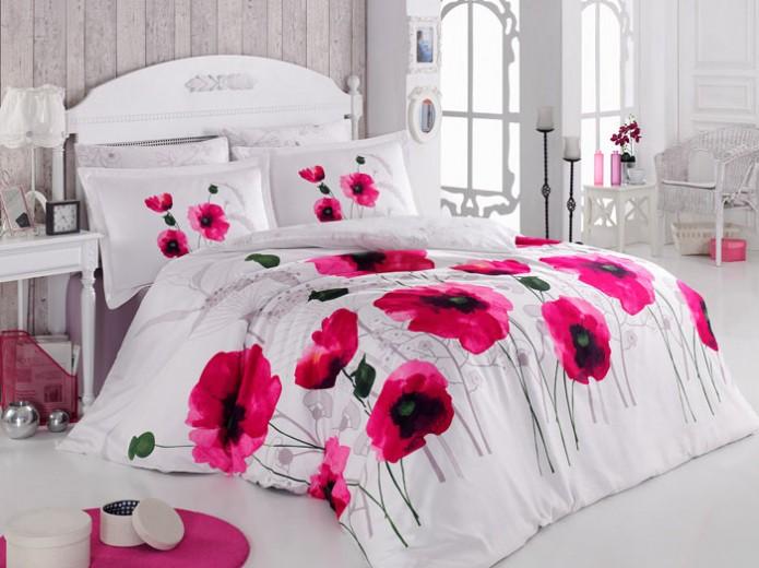 Lenjerie de pat Satin Poppy Flower V2 Pink