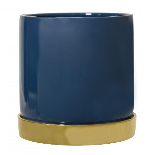 Ghiveci cu farfurie din ceramica Blue, Ø14xH14 cm