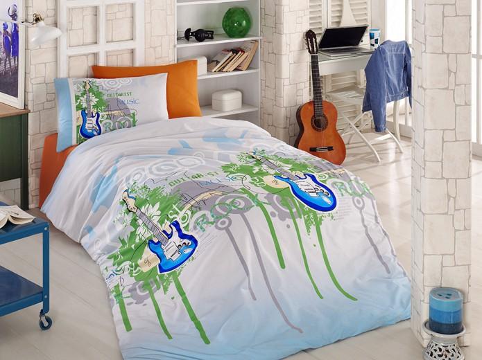 Lenjerie de pat copii Ranforce Blue Guitar