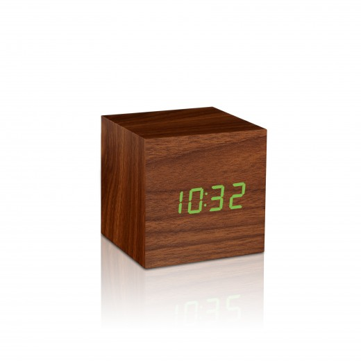 Ceas inteligent Cube Click Clock Walnut/Green