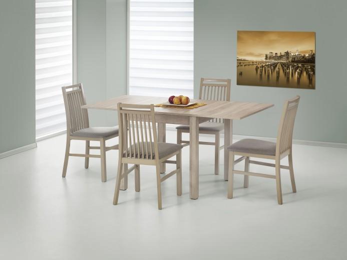 Set masa extensibila din MDF si pal Gracjan Sonoma Oak + 4 scaune Hubert 9 Sonoma Oak / Grey, L80-160xl80xH76 cm