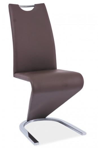 Scaun tapitat cu piele ecologica, cu picioare metalice H-090 Brown, l43xA45xH102 cm