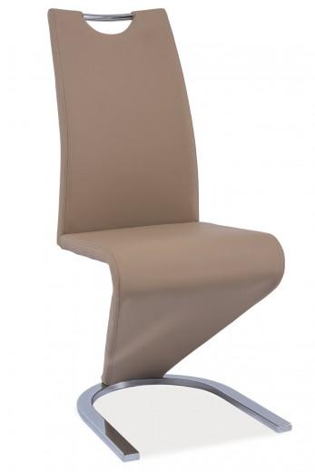 Scaun tapitat cu piele ecologica, cu picioare metalice H-090 Beige, l43xA45xH102 cm