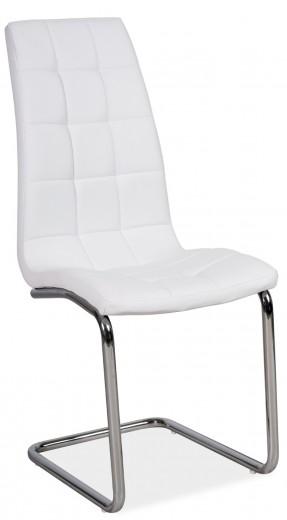 Scaun tapitat cu piele ecologica, cu picioare metalice H-103 White, l42xA43xH102 cm