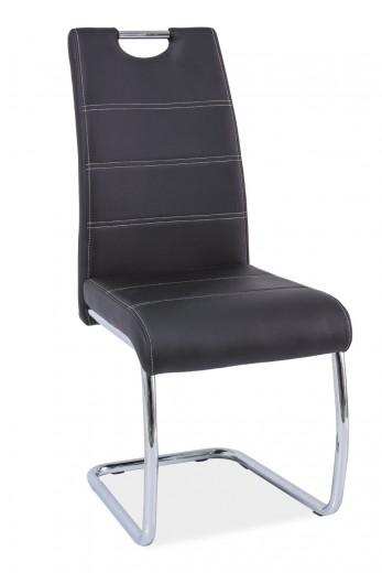 Scaun tapitat cu piele ecologica, cu picioare metalice H-666 Black, l42xA45xH98 cm