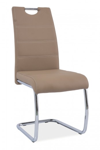 Scaun tapitat cu piele ecologica, cu picioare metalice H-666 Beige, l42xA45xH98 cm