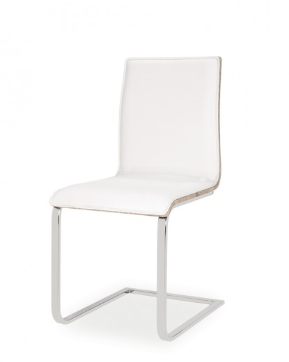 Scaun tapitat cu piele ecologica, cu picioare metalice H-690 White / Sonoma Oak, l43xA43xH89 cm