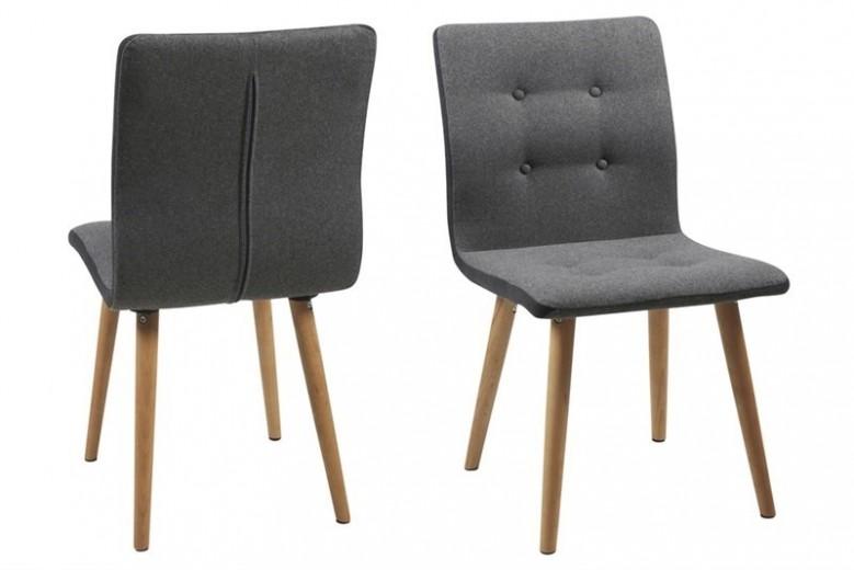 Set 2 scaune tapitate cu stofa, cu picioare din lemn Frida Dark Grey, l43xA55xH88 cm