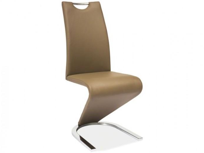 Scaun tapitat cu piele ecologica, cu picioare metalice H-090 Cappuccino, l43xA45xH102 cm