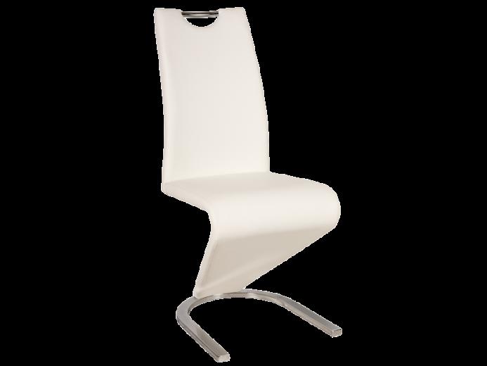 Scaun tapitat cu piele ecologica, cu picioare metalice H-090 White, l43xA45xH102 cm