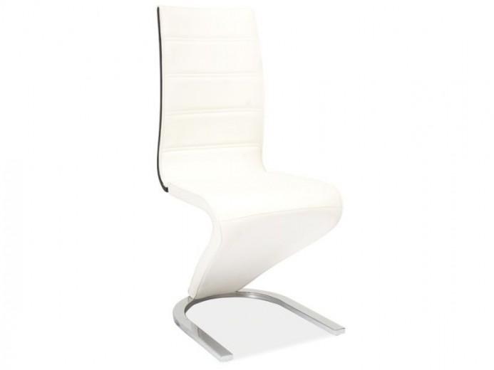 Scaun tapitat cu piele ecologica, cu picioare metalice H-134 White / Black, l44xA46xH99 cm
