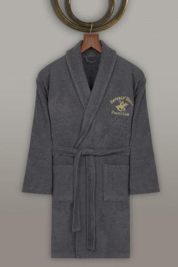 Halat de baie unisex, din bumbac, Beverly Hills Polo Club 700 Antracit, L / XL