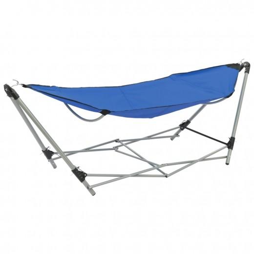 Hamac cu suport pliabil din metal, Oxford 600D Albastru, L241xl76xH70 cm