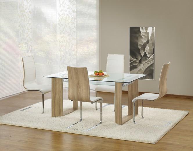 Set masa din sticla si MDF Herbert Sonoma Oak + 4 scaune K104 White / Sonoma Oak, L160xl90xH76 cm