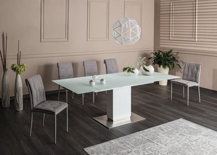 Set masa extensibila din sticla si MDF Horizon White + 6 scaune tapitate Nido Grey, L160-240xl90xH76 cm