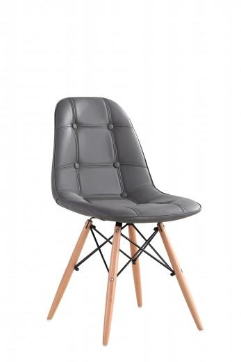 Scaun tapitat cu piele ecologica si picioare de lemn, Iars Grey, l41xA36xH83 cm
