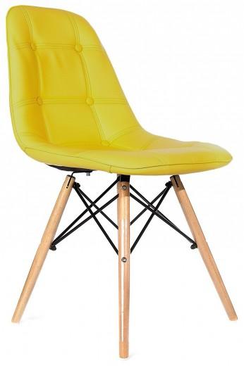 Scaun tapitat cu piele ecologica si picioare de lemn, Iars Yellow, l41xA36xH83