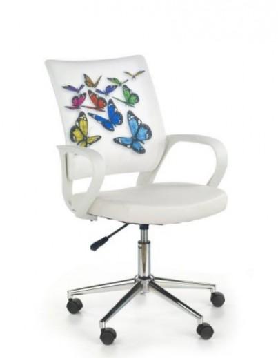 Scaun de birou pentru copii, tapitat cu piele ecologica si stofa Ibis Butterfly, l53xA59xH88-100 cm