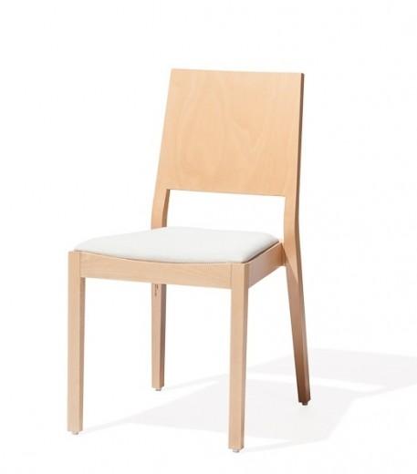 Scaun din lemn de fag, tapitat cu piele ecologica Lyon 516 Natural / White, l46xA62xH86 cm