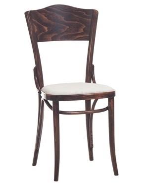 Scaun din lemn de fag, tapitat cu piele ecologica Dejavu 054 Brown, l43xA50xH90 cm