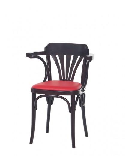 Scaun din lemn de fag, tapitat cu piele ecologica 24 Wenge / Red, l54xA48xH75 cm