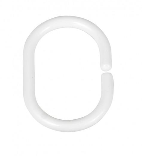 Inele perdea dus, din plastic, Hook Oval Alb, 3 x 4,5 cm, 12 bucati