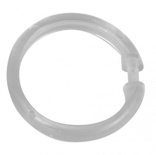 Inele perdea dus, din plastic, Hook Transparent, Ø6 cm, 12 bucati