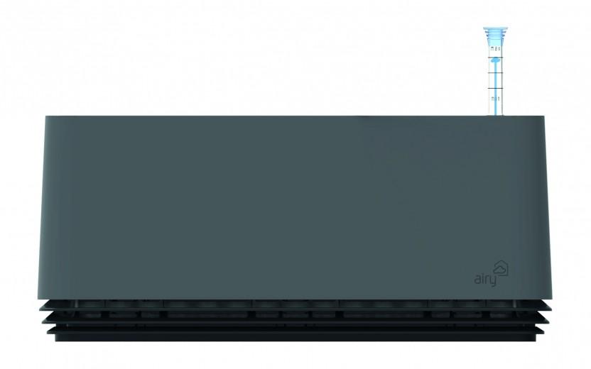 Purificator natural de aer cu ghiveci pentru plante Airy Box Grey / Black Jack