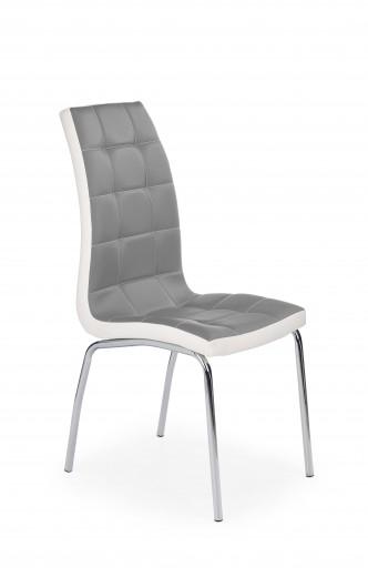Scaun tapitat cu piele ecologica, cu picioare metalice K186 Grey / White, l42xA63xH100 cm