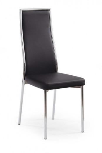 Scaun tapitat cu piele ecologica, cu picioare metalice K86 Black, l41xA54xH102 cm