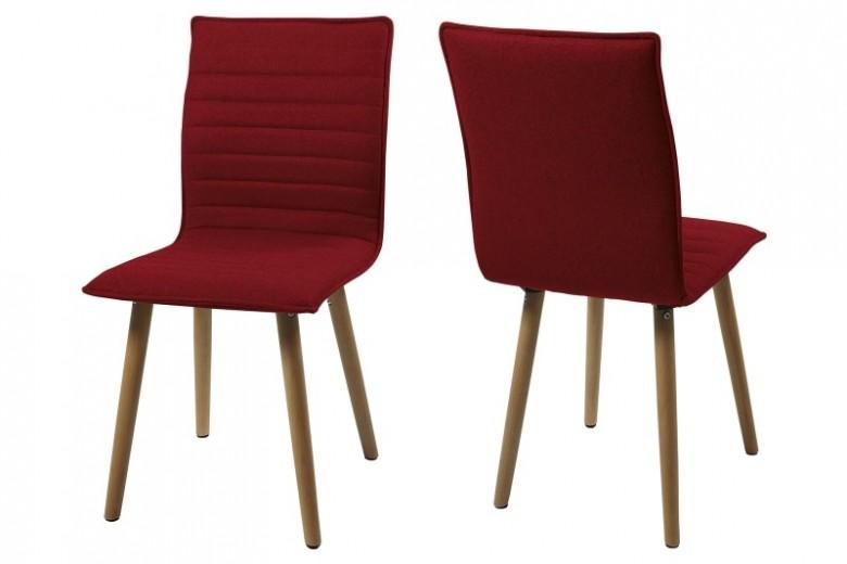 Set 2 scaune din lemn tapitate Karla Red/Dark Oak