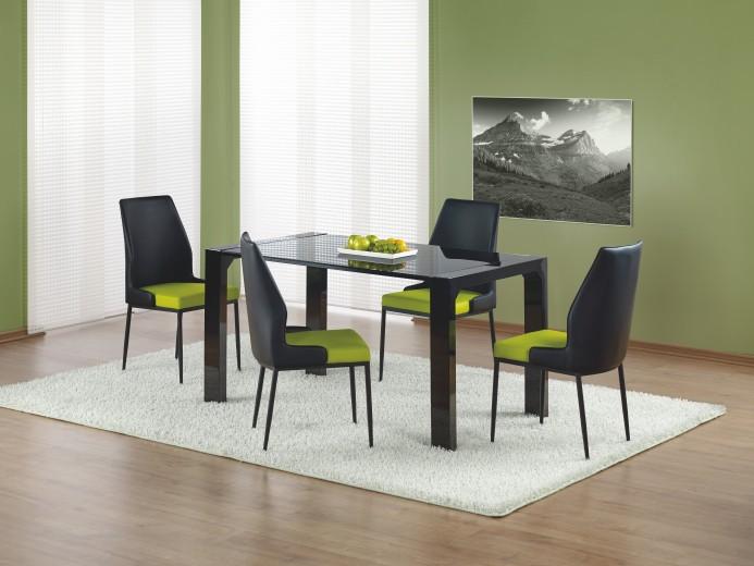 Set masa din sticla si MDF Kevin Black + 4 scaune K199 Black / Green, L140xl80xH76 cm