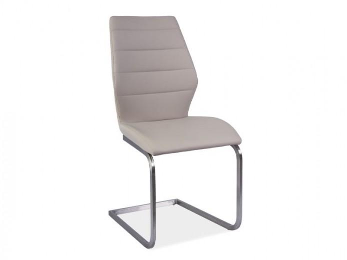 Scaun tapitat cu piele ecologica, cu picioare metalice Kevin Cappuccino, l45xA42xH95 cm