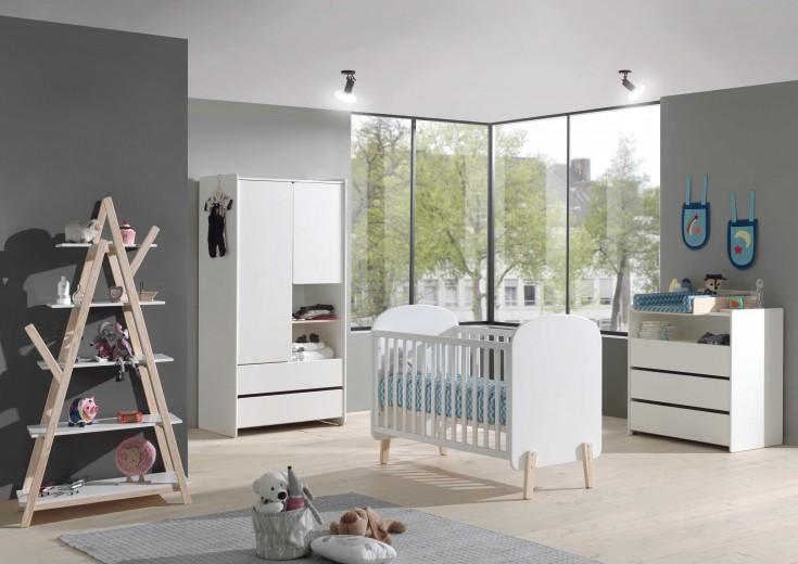 Set Mobila din lemn de pin si MDF pentru camera bebe 5 piese Kiddy Alb, 120 x 60 cm