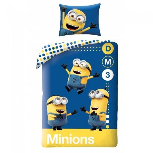 Lenjerie de pat copii Cotton Minions UDM153BL-200 x 140 cm