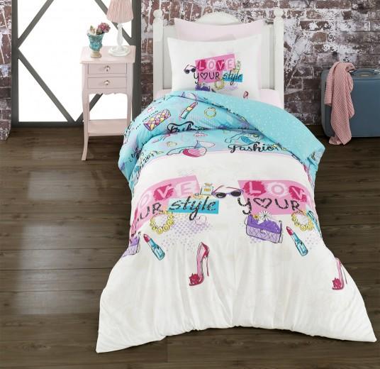 Lenjerie de pat copii Ranforce Funny Story V1 Multicolor-1 pers-140 x 200 cm