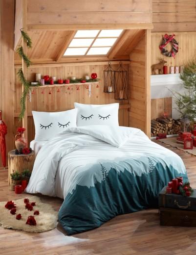 Lenjerie de pat din bumbac Ranforce Eyelash Alb / Bleumarin, 200 x 220 cm