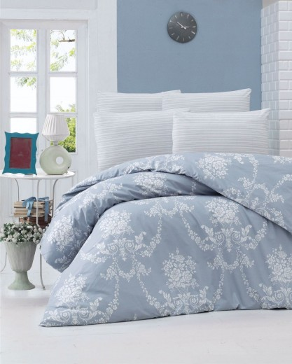 Lenjerie de pat din bumbac Ranforce, Gloria Albastru / Alb, 200 x 220 cm