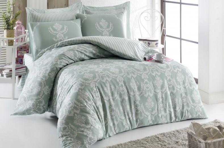 Lenjerie de pat din bumbac Ranforce Pure Verde / Alb, 200 x 220 cm
