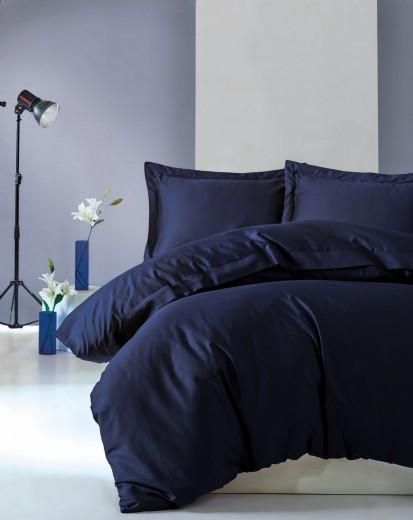 Lenjerie de pat din bumbac Satinat Premium Elegant Bleumarin, 200 x 220 cm