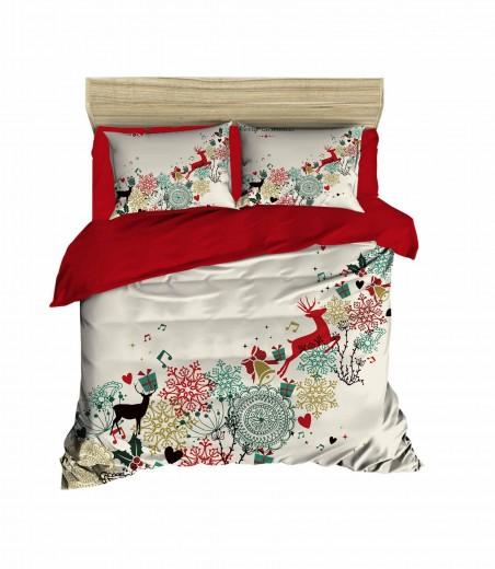 Lenjerie de pat din bumbac si microfibra Christmas 451 Multicolor, 200 x 220 cm