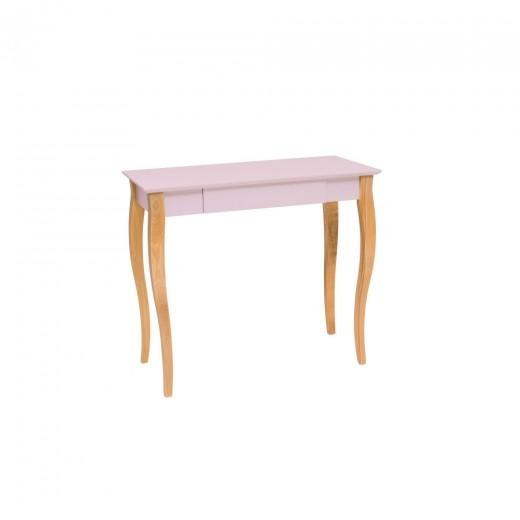 Masa de birou din lemn de fag si MDF, cu 1 sertar Lillo Medium Dusty Pink / Beech, L85xl40xH74 cm