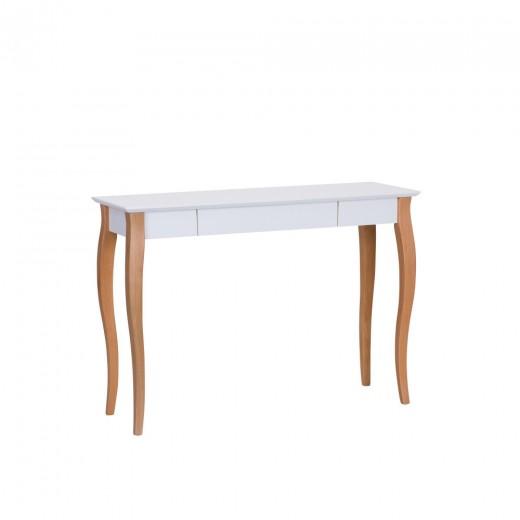 Masa de birou din lemn de fag si MDF, cu 1 sertar Lillo Large White / Beech, L105xl40xH74 cm